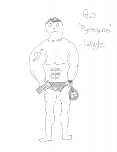An amateur sketch of Mr. Whyte executing a drug deal.