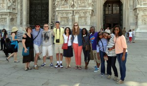 Pace students stopped for a quick photo while exploring Italy. Photo: Donnice Bloodworth