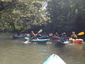 Students of all ages had a great time paddling down the Cartecay River in Ellijay, Georgia. 13 students of all grades and 3 teachers participated in the excursion. Photo: Gus Whyte