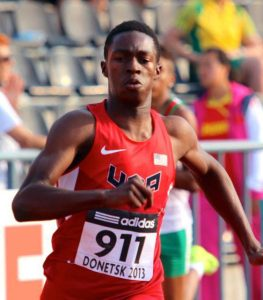 Kenny Selmon competes in  the 400 meter hurdles at the Ukraine youth championships.