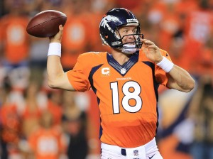 Peyton manning gets ready to throw to one of his many talented wide receivers. Photo: Business Insider