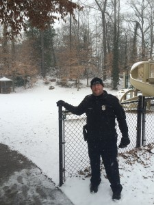 Officer Jonathan Cornelius joined the fun with the snow while protecting the campus.