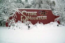 A snow-covered Stone Mountain will be the site of the downhill events for the upcoming Winter Games in Atlanta. Photo: Stone Mountain Lodge