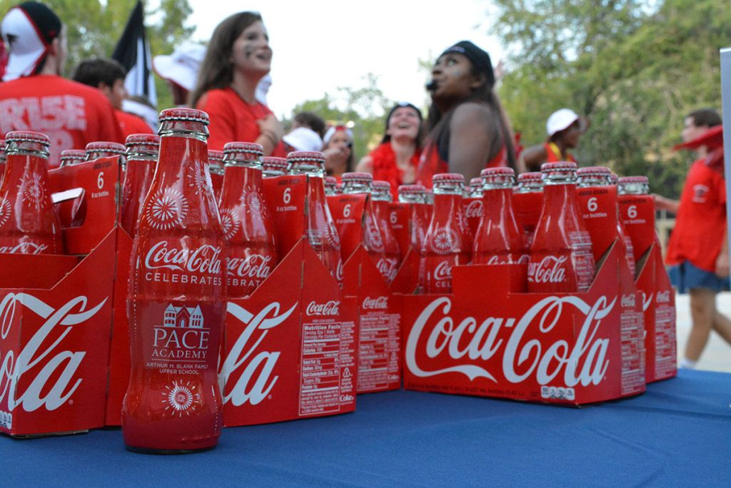 Students could not drink the specially-labeled, commemorative Coca-Colas inside the building on the opening day of school.
