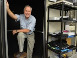 "Mr. Dorman prepares to venture ""Inside the Darkroom"" Photo: Brian Sloan"