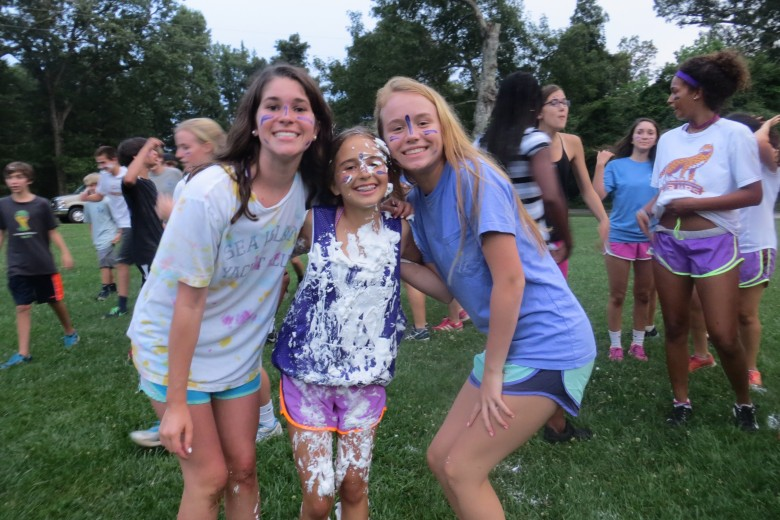 Freshman engaged in many fun, messy activities on the retreat. Photo: Sara Eden