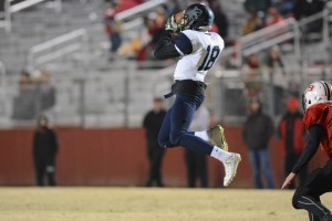 Junior wide receiver Spencer Hemmingway hauls in a pass against the Bowdon Red Devils in the first round of the GHSA State Playoffs.