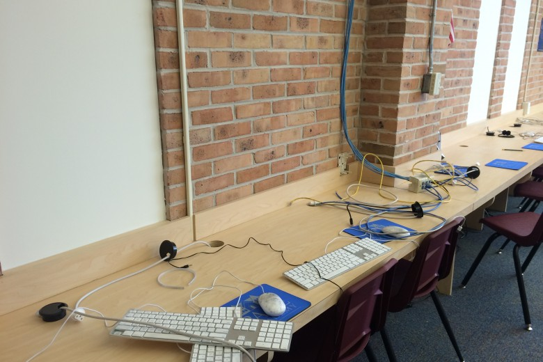 The ransacked Lower School computer lab sits in ruin after the theft of all its iMacs.