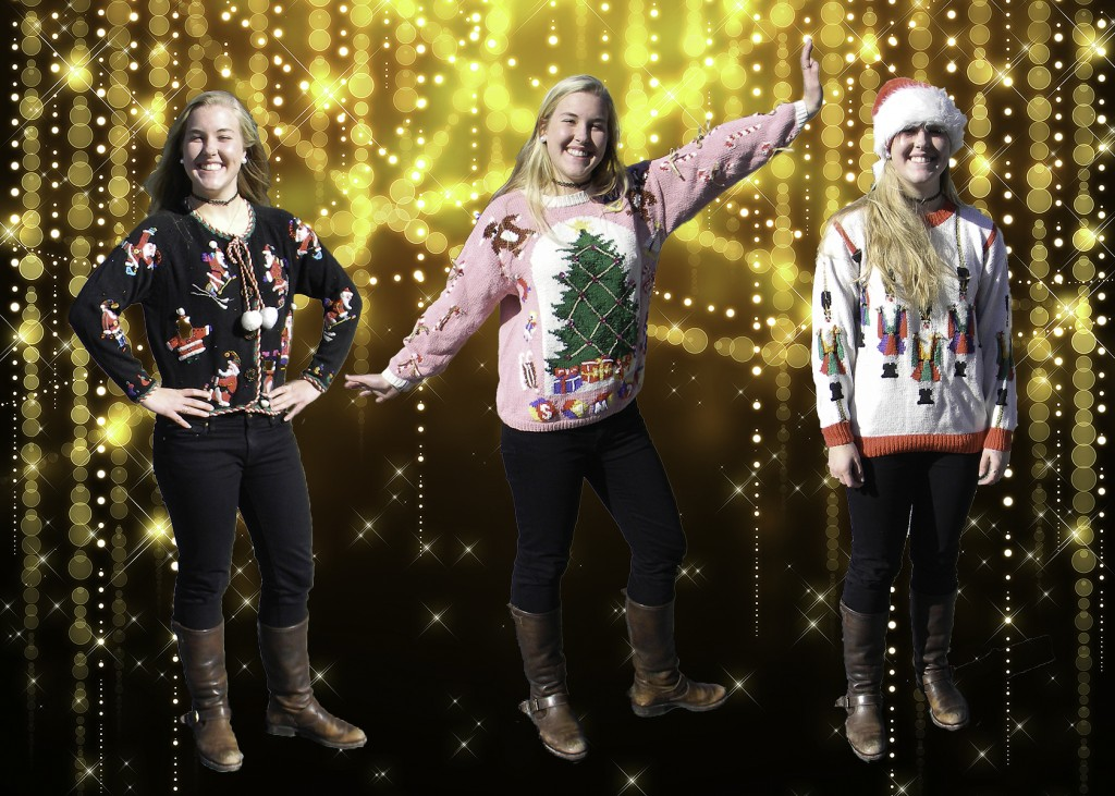 Keeley Harris shows off her festive sweaters for this holiday season. Photo: Libby Sams