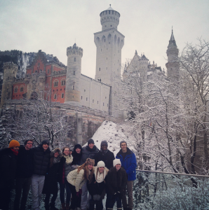 The group of seniors pose in front of the Neuschwanstein Castle in Munich, Germany. (photo credit: Mr. Hornor)
