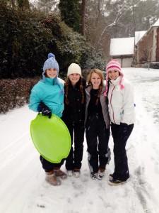 Seniors Anna Brown, Rachel Morrisroe, Ginny Reynolds, and Juliana Derosa were among the Pace students who enjoyed the snow week. Photo: Juliana Derosa