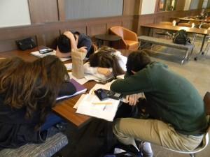 Sophomores sleep in their free prior to late start change. Photo: Dori Greenberg