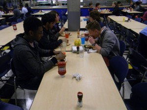Seniors devour the cafeteria food due to limited options. Photo: Josh Blank