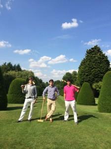 (L-R) Austin Little, Matt Tanenblatt and Matthew Seaman prepare for an intense game of croquet while in Englad last summer on the Cambridge Global Ed trip. Photo: Matt Tanenblatt