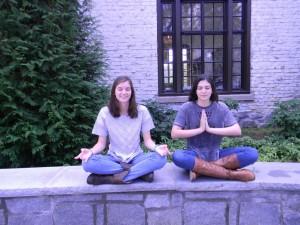 Sophomores Melanie Crawford and Sienna Goren enjoy meditating outside. Photo: Amy Butler