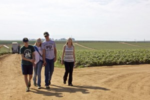 Lex Trevelino, Annie Nottingham, Thomas Hoover, and Emma St. Amand tour farms in Monterey, California. Photo: Tris Anderson