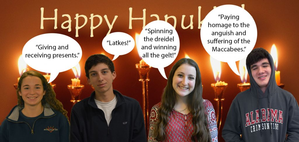 (L-R) Junior Zoe Weitzner, sophomore Ben Bernstein, senior Nicole Shafer, and junior Caleb Levin share their favorite aspects of the holiday. Photos: Landon Goldstein