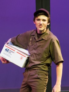 Freshman Harrison Husk as Kyle, the UPS delivery boy. Photo: Warren Sams III