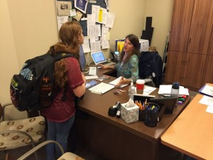 Senior Lauren Pickman informs Mrs. Meyring that she submitted a college application. Photo: Zack Kaminsky