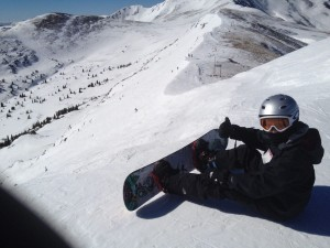 Junior Max Garton prepares to hit the slopes during last winter break.