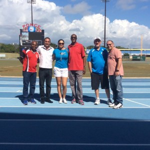 From left to right, Franklyn Colon, Osvaldo Lopez Rivera, Sra. Agront-Hobbs, Charles Oliver, Mike Killpack, and Angel Negron visit a potential site for the AAU track meet in Puerto Rico this June.