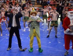Senior leads, Bailey O'Sullivan (left), Ethan Robinson (middle), and Jack Zook (right), show their dance moves in their last Spirit Week ever. Photo: Fred Assaf