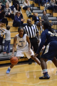 Junior standout Mckenzie Baker facing up a defender in a win versus Hapeville Charter. Photo: Fred Assaf
