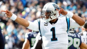 Carolina Panthers quarter back, Cam Newton, celebrates in the Panthers playoff win over the Seattle Seahawks. Photo: ESPN