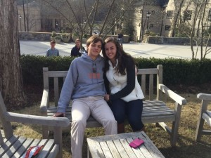 Cute couple Sammy Lettes and Kayla Ross cuddle in the gardens after a long day of school. Photo: Dori Greenberg
