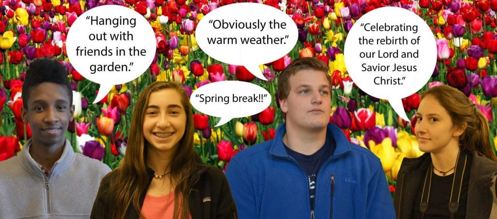 (L-R) Junior Jibril Sadiq, freshman Abigail Meyerowitz, and seniors Philip Elliott and Caroline Hardison share their thoughts on why spring is the best season. Photos: Landon Goldstein