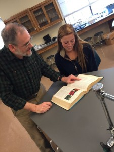 Senior Caroline Hopkins reviews information with Mr. Ballard to assure that she understands specific concepts. Photo: Dori Greenberg