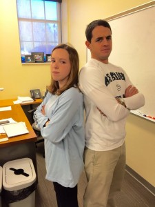 Mr. Whyte and senior Lauren Archer get serious before class. Photo: Dori Greenberg