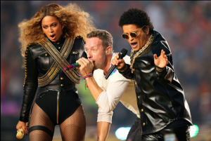Beyonce, Chris Martin, and Bruno Mars perform song Up & Up during Super Bowl 50 Halftime Show. Picture: NFL.com