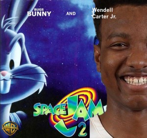 """Junior Wendell Carter Jr. poses in the first official poster for """"Space Jam 2"""" with Bugs Bunny. Photo: Michael Simon and Joe Loughran"""