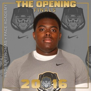 Andrew Thomas becomes the first Pace Academy Knight to be invited to the Opening. The 6-foot-5 tackle was named to the all-state team by the Atlanta Journal-Constitution, as well as AJC Offensive Player of the Year for the City/South Fulton Division. Photo by Todd Huber.