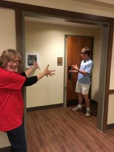 Mrs. Culp walks down the hall to find Jack Rubenstein exiting the female bathroom Credit: Brian Sloan