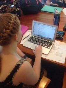Senior Rachel Nemeth works on her resume for her summer internship. Photo Credit: Chris Howard
