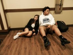 It's common for students to skip class and sleep i the hallways, especially freshmen Abby Meyerowitz and Cameron Hamilton. Photo: Amy Butler
