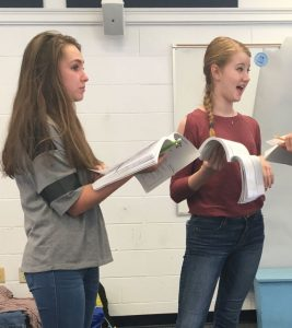 Sophomores Grace Pottorf and Abby Ray immerse into their struggling actress characters. Photo: Margaret Bethel