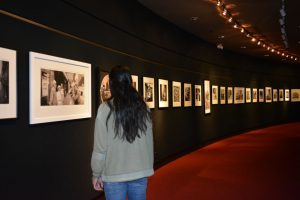Sophomore, Avi Arora, admires the photography on the FAC walls.