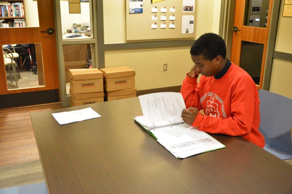 Freshman Mbiti Williams studies English during one of his frees. Photo: Landon Goldstein