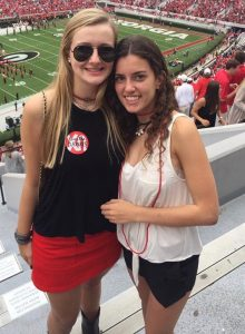 Seniors Kate Bethel and Sophie Zelony (L-R) visited University of Georgia and went to a football game during a weekend in October. Photo: Sophie Zelony